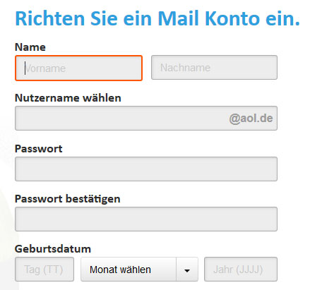 aol registrieren