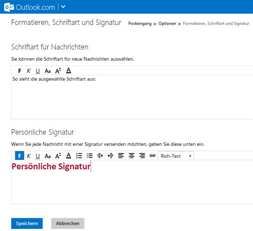 Hotmail, Outlook.com Signatur
