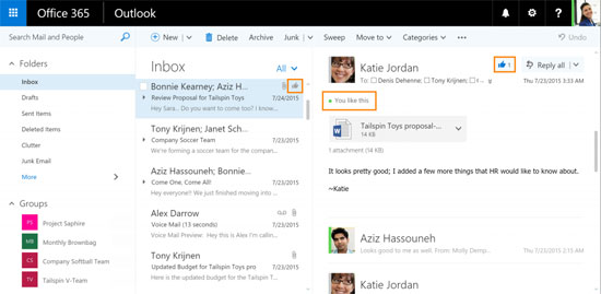 Outlook Likes und Mentions