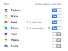 Google Inbox Bundles Kategorien